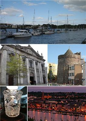 From top, left to right: Waterford Marina, Holy Trinity Cathedral, Reginald's Tower, a piece of Waterford Crystal, Waterford City by night.