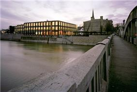 The School of Architecture campus in the background by the Grand River in Cambridge, Ontario.