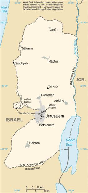 The West Bank (Arabic: الضفة الغربية aḍ-Ḍaffah al-Ġarbiyyah, Hebrew: הַגָּדָה הַמַּעֲרָבִית, translit. HaGadah HaMa'aravit or יהודה ושומרון Yehuda VeShomron (Judea and Samaria)).