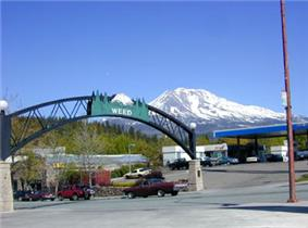 Entrance to Weed, California with Mount Shasta in the background.