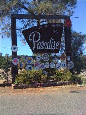 Welcome to Paradise sign on Clark road