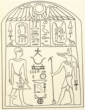 Stele of Wepwawetemsaf, drawing made in 1913 by Wallis BudgeWallis Budge: ''Hieroglyphic texts from Egyptian stelae, &c., in the British Museum, Part IV'', London: Printed by order of the Trustees [by] Harrison and Sons, 1913, [http://www.researchonline.mq.edu.au/vital/access/manager/Repository/mq:71 available copyright-free online]