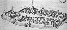 A city is surrounded by a thick, crenelated wall; on one end of the city stands the citadel, which itself is surrounded by a thick wall and has a single entry; in the center of the city stands a church with a tall spire. The city is surrounded by a moat.