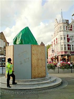 The World Cup Sculpture boarded up for protection before a game in August 2009