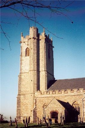 Stone building with square tower and stair turret.