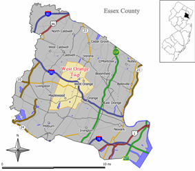 Map of West Orange Township in Essex County. Inset: Location of West Orange highlighted in the State of New Jersey.