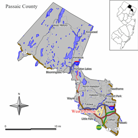 Map of Woodland Park in Passaic County (shown under its former name West Paterson). Inset: Location of Passaic County highlighted in the State of New Jersey.