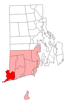 Location of Westerly in Washington County, Rhode Island