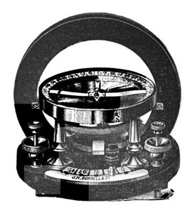 Drawing. The prominent feature is a vertical ring seen from the front. It is mounted on a horizontal disk that has electrical connectors. A horizontal compass is mounted at the center of the ring.
