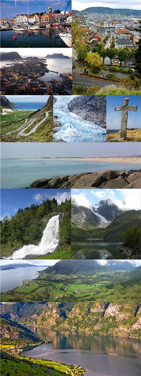 Stavanger, Bergen, Ålesund, Selje, Briksdalsbreen, Kvitsøy, Hå, Steinsdalsfossen, Folgefonna, Ørsta, Aurland