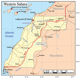 Map of Western Sahara.