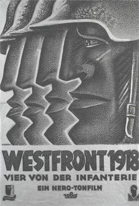 Black-and-white movie poster featuring a stylized illustration of the profiled head of a helmeted man on the right, facing left. Behind him, and progressively to the left, are the front parts of three more such profiles, with nearly identical helmet tips, noses, lips, and chins. The title below is followed by the line