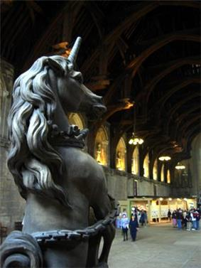 a statue of a Unicorn, seen in St Stephen's Chapel, Westminster Palace, London