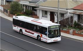 Photo of Westrans number 114 rego 6510 AO on route 414 at West Footscray, Australia. Volgren CR228L bodied Volvo B12BLE, built 2007, 2009.