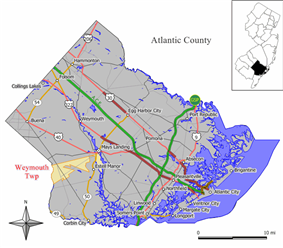 Map of Weymouth Township in Atlantic County. Inset: Location of Atlantic County highlighted in the State of New Jersey.