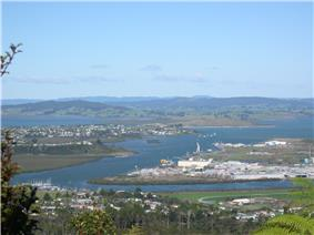 Whangarei Harbour from Mt. Parihaka with the suburbs of Onerahi, Sherwood Rise, Parihaka and Port Whangarei in view.