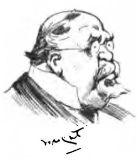 Head and shoulders caricature of heavy-set male with goatee beard, small round spectacles and bald head looking to right