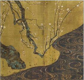A tree branch with white blossoms and a river.