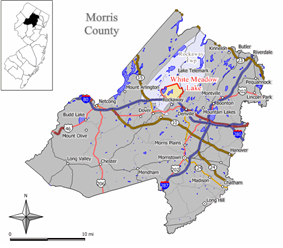 Map of White Meadow Lake highlighted within Morris County. Inset: Location of Morris County in New Jersey.