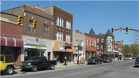 Whiting's business district on 119th Street