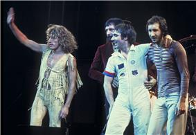 The Who, original line up, performing in Chicago. Left to right: Roger Daltrey, John Entwistle, Keith Moon, Pete Townshend.