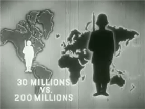 A black-and-white screenshot of an image of a world map. Above the United States is a figure of a white soldier, and above Asia is a larger black soldier. Text at the bottom-left of the image states