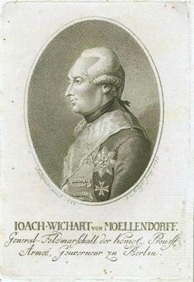 Sepia print of a man wearing a late 18th century wig and a military uniform with two large decorations. The print is labeled Ioach-Wichart von Moellendorff.