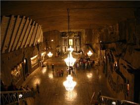 Chapel of St. Kinga, deep within the Wieliczka salt mine.