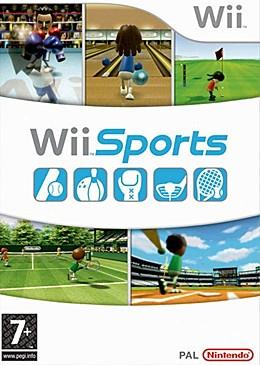 Artwork of a vertical rectangular box. The top third displays three screen shots from the game: two characters with boxing gloves fighting in a boxing ring, a character holding a bowling ball at a bowling alley, and a character holding a golf  at the putting green of a golf course. The Wii logo is shown at the upper right corner. The center portion reads