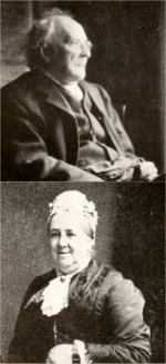 images of an elderly man in Victorian costume, seen in right profile, and of an elderly woman also in Victorian clothing, smiling towards the camera