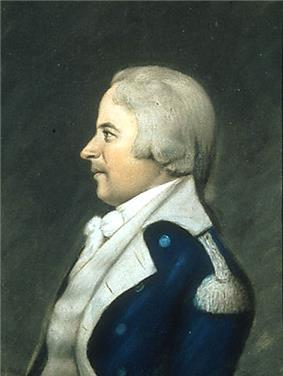 A painting of a man in a military-style coat and white wig