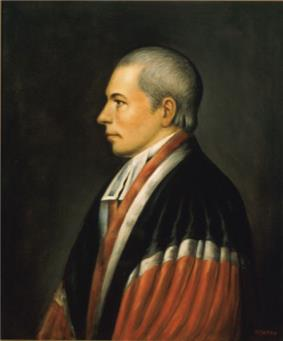 Portrait of aging, silver-haired man in judge's robes.