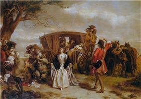 A well-dressed man stands in front of a young woman in 18th-century dress.  Behind her, a coach is stopped, and several masked men are armed with pistols.  The coach's occupants are in disarray.  To the left, another masked man plays a small flute.  Before him, an older man sits, his arms tied behind his back.