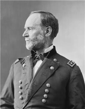 Man with light beard and facing left in uniform with two vertical columns of buttons