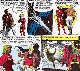 Comic strip in which a woman dressed in a cape tells a man that she does not need him in order to become queen, then shoots him while he begs for mercy.