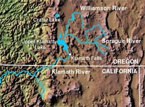 Map of the drainage basins of the Williamson, Sprague, and Klamath Rivers