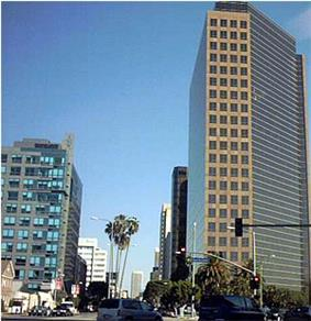 The intersection of Wilshire and San Vicente Boulevards