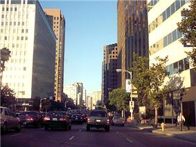 High-rise buildings line Wilshire Boulevard through the Westwood area