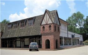 Downtown building in Wilson, Arkansas with Tudor-style architecture