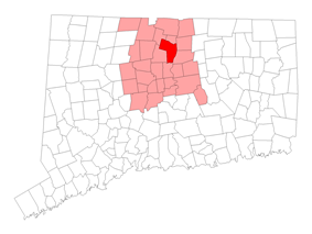 Location in Hartford County, Connecticut