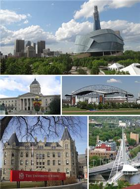 Clockwise from top: Downtown featuring the Canadian Museum for Human Rights, Manitoba Legislative Building, Saint Boniface and the Esplanade Riel bridge, Wesley Hall at the University of Winnipeg, Investors Group Field.