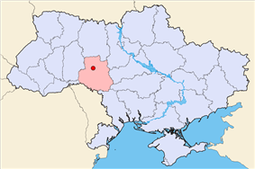 Map of Ukraine with Vinnytsia highlighted.