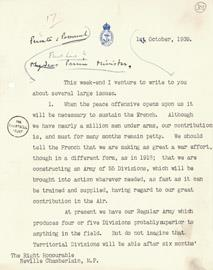 The first page of a letter from Churchill to Chamberlain, 1939