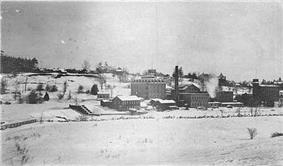 Winter scene of the Penman mill in Paris, circa 1900