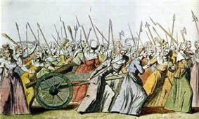 An engraving showing women armed with pikes and other weapons marching