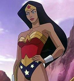 Wonder Woman from the animated film, standing in front of a cliff and looking downward.