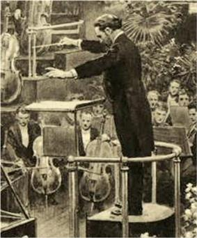 drawing of a middle-aged man in evening dress, seen from his left, conducting an orchestra