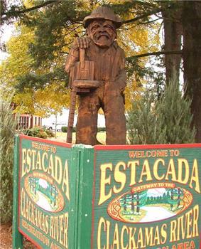 Sculpture in front of City Hall in downtown Estacada