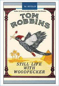 Cover of Still Life With Woodpecker, echoing the design of the Camel cigarette packet