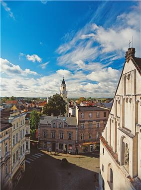 View from Protestant church to town hall